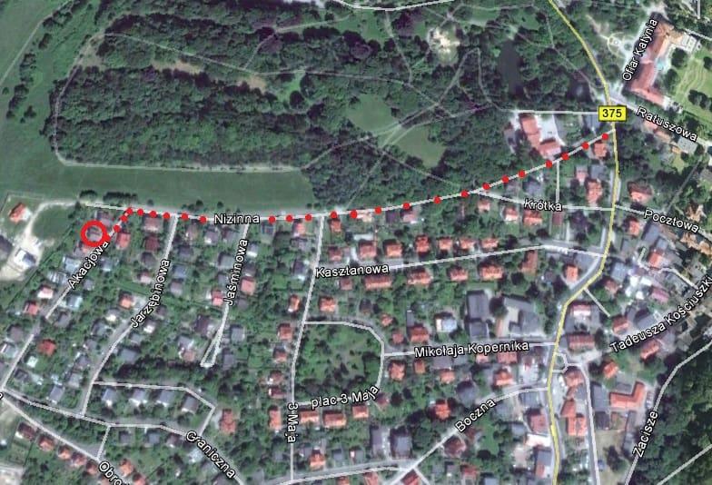 Lokalizacja Pensjonatu Akacjowa 2 w Szczawnie